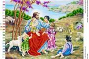 Рисунок на габардине для вышивки бисером Христос Пастир і діти