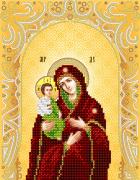 Схема для вышивки бисером на атласе Богородица Троеручица (золото)