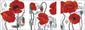 Схема вышивки бисером на атласе Триптих Маки, , 175.00грн., ТС2-10, Эдельвейс, Картины из нескольких частей