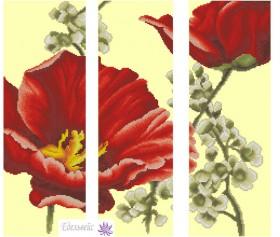 Схема вышивки бисером на атласе Триптих Цветы 2, , 175.00грн., ТС-02, Эдельвейс, Картины из нескольких частей