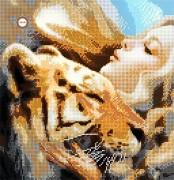 Схема для вышивки бисером на атласе Тигрица