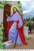 Схема вышивки бисером на атласе Иисус стучит в дверь