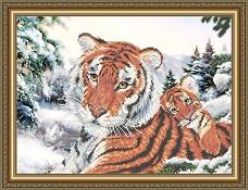 Схема для вышивки бисером на габардине Тигрица с тигрёнком Art Solo VKA3087