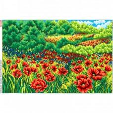 Схема вышивки бисером на габардине Макове поле Biser-Art 40х60-3025