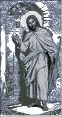 Схема вышивки бисером на габардине Ісус стукає в двері  Эдельвейс С-209(ІІ)