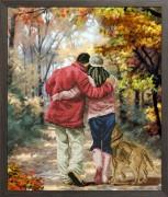 Набор для вышивания нитками Осень в парке 1