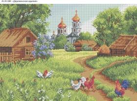 Схема для вышивки бисером на габардине Деревенская идиллия, , 70.00грн., А3-К-384, Acorns, Пейзажи и натюрморты