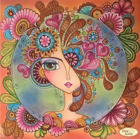 Схема вышивки бисером на атласе Зеркало души