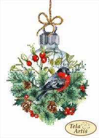 Схема вышивки бисером на атласе Снегирь и хрустальный шар Tela Artis (Тэла Артис) ТД-024 - 30.00грн.