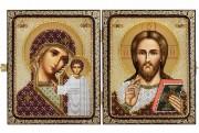 Набор для вышивки иконы бисером в рамке-складне Христос Спаситель и Пресв. Богородица Казанская