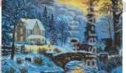 Схема вышивки бисером на габардине Зима