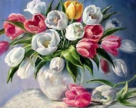 Набор для выкладки алмазной мозаикой Тюльпаны в вазе Алмазная мозаика DM-145 - 640.00грн.