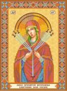 Схема для вышивки бисером на холсте Богородица Семистрельная