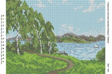 Рисунок на габардине для вышивки бисером Пейзаж Вишиванка А3-044