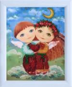 Рисунок для вышивки бисером Ангелочки влюблены