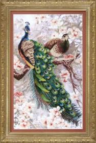Набор для вышивки крестом два павлина в цветущей магнолии Cristal Art ВТ-519 - 284.00грн.