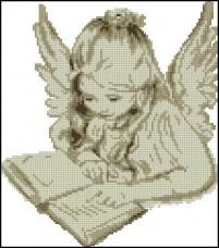 Схема вышивки бисером на габардине Ангелочек Эдельвейс С-13