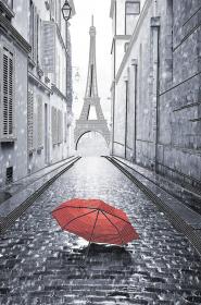 Схема для вышивки бисером на атласе Парижский дождик (красный)