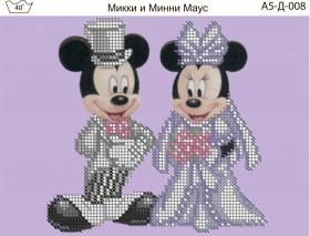 Схема для вышивки бисером на габардине Микки и минни маус