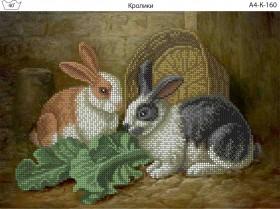 Схема для вышивки бисером на габардине Кролики