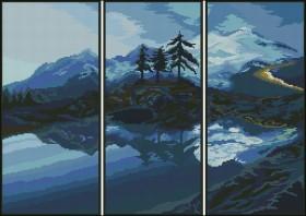 Схема вышивки бисером на атласе Триптих Пейзаж, , 150.00грн., ТС-04, Эдельвейс, Картины из нескольких частей