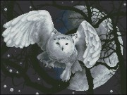 Схема вышивки бисером на габардине Місячна сова
