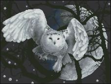 Схема вышивки бисером на габардине Місячна сова Эдельвейс С-268