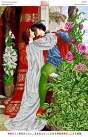 Схема вышивки бисером на габардине Ромео и Джельетта