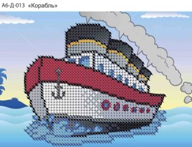 Схема для вышивки бисером на габардине Корабль