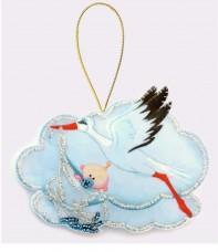 Набор для изготовления игрушки из фетра для вышивки бисером Аист с мальчиком Баттерфляй (Butterfly) F038