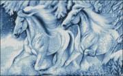Схема вышивки бисером на габардине Зимові коні