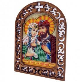 Набор для вышивки бисером на деревяной основе Петр и Февронья