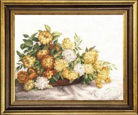 Набор для вышивки крестом желтые хризантемы