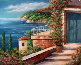 Набор для выкладки алмазной мозаикой Дом на берегу моря, , 640.00грн., DM-074, DIAMONDMOSAIC, Пейзажи