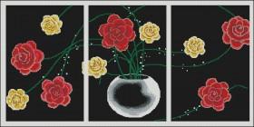 Схема вышивки бисером на атласе Триптих Цветы, , 180.00грн., ТС3-01, Эдельвейс, Картины из нескольких частей