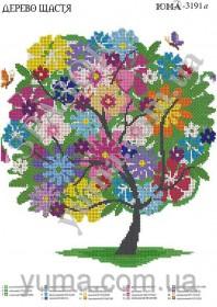 Схема вышивки бисером на атласе Дерево счастья, , 61.00грн., ЮМА-3191, Юма, Схемы и наборы для вышивки бисером по Фен шуй