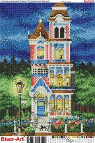 Схема вышивки бисером на габардине Вікторіанський будинок