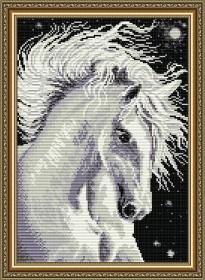Набор для выкладки алмазной техникой Лошадь белая, , 400.00грн., АТ3016, Art Solo, Алмазная мозаика