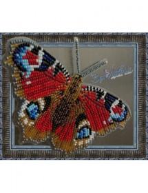 Набор для вышивки бисером на прозрачной основе Бабочка Павлиний Глаз Дневной