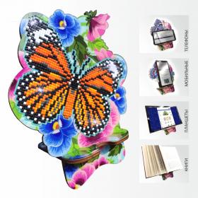 Подставка под телефон с алмазной мозаикой Бабочка и Анютины глазки Art Solo АРМ-05 - 299.00грн.