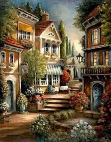 Набор для выкладки алмазной мозаикой Цветущий дворик, , 640.00грн., DM-070, DIAMONDMOSAIC, Пейзажи