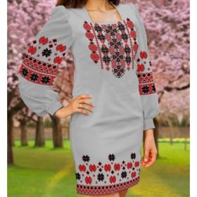 Заготовка женского платья на сером габардине Biser-Art Bis6046 серый габардин - 410.00грн.