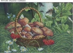 Схема для вышивки бисером на габардине Корзинка с грибами Acorns А4-К-265 - 45.00грн.