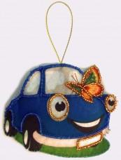 Набор для изготовления игрушки из фетра для вышивки бисером Машинка Баттерфляй (Butterfly) F036