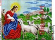 Схема вышивки бисером на габардине Ісус з ягнятами