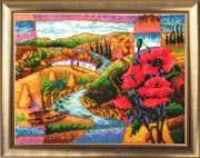 Набор для вышивки бисером Сельский пейзаж. Маки