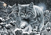 Схема для вышивки бисером на атласе Лунный кот