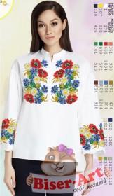 Заготовка вышиванки Женской сорочки на белом габардине Biser-Art SZ107 - 320.00грн.