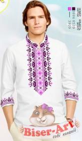 Заготовка мужской сорочки на белом льне  Biser-Art Bis15115 - 435.00грн.