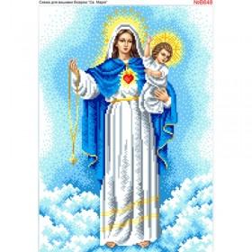Схема вышивки бисером на габардине Святая Мария